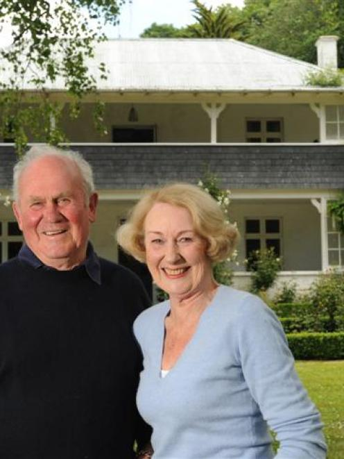 Michael and Wendy Bayley in the grounds of their historic home at Otekaieke Station. Photo by...