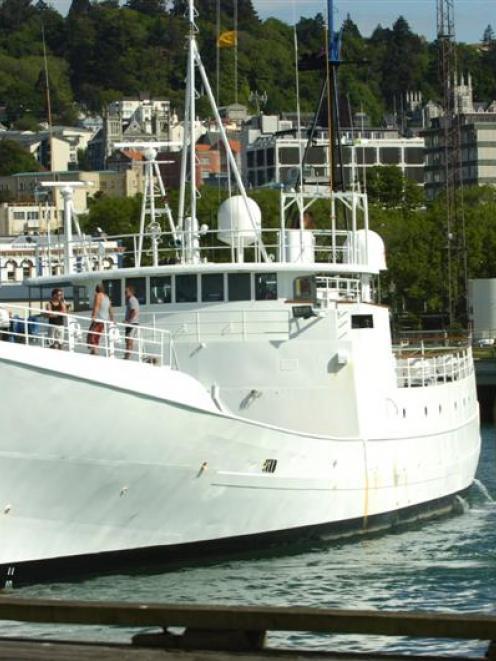 Michael Swann's vessel 'Townsend Cromwell'  when it was seized at the Birch St wharf in Dunedin....