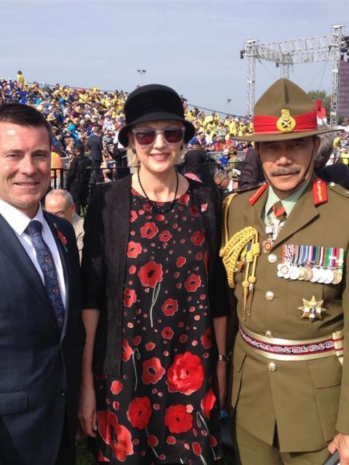 Michael Woodhouse, Janine, Lady Mateparae and Governor-General Sir Jerry Mateparae at Gallipoli...