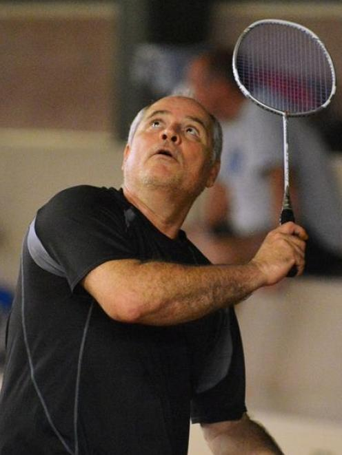 Michel Russo in action at the badminton at the New Zealand Masters Games. PHOTO: GERARD O'BRIEN