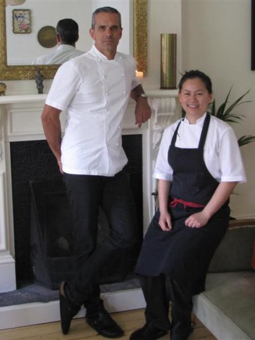 Michelin star chef and Masterchef New Zealand judge Josh Emett with Madam Woo chef Jane Leong at...