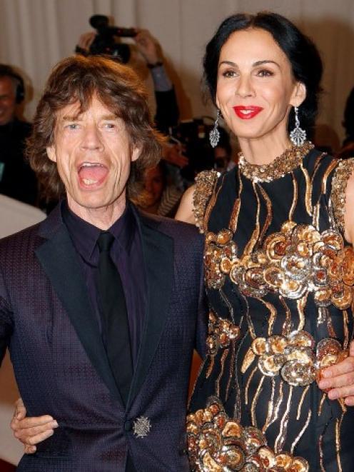 Mick Jagger and L'Wren Scott attend the Metropolitan Museum of Art Costume Institute Benefit...