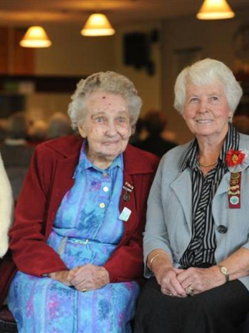 Mid Otago Federation of Women's Institutes 50- and 60-year service badge recipients (from left)...