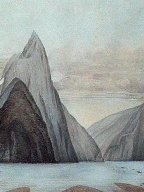 """Milford Sound, looking north-west from Freshwater Basin"""",  by John Buchanan"""