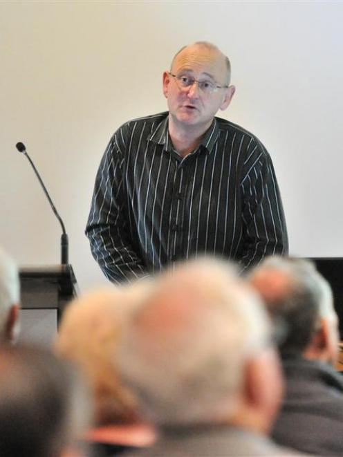 """Military historian Dr Aaron Fox gives his """"Discounting Private Ryan"""" talk at Toitu Settlers..."""