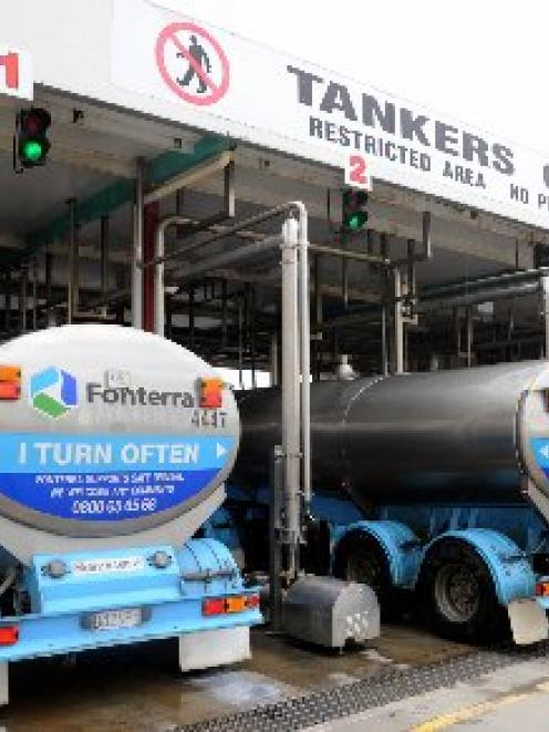 Milk tankers unload Milk at the Fonterra Plant at Edendale. Coal and gas are the chief energy...
