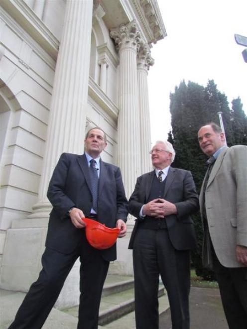 Minister for Courts Chester Borrows (left), Waitaki Mayor Alex Familton, and Waitaki District...