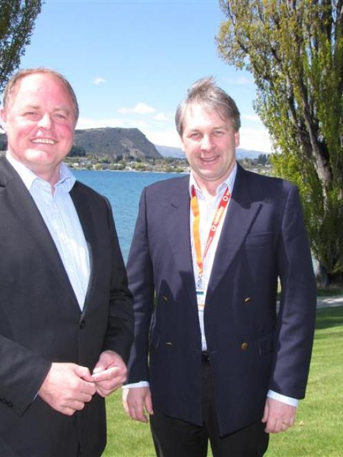 Minister of Commerce Craig Foss (left), with Wanaka Chamber of Commerce president Leigh Stock,...