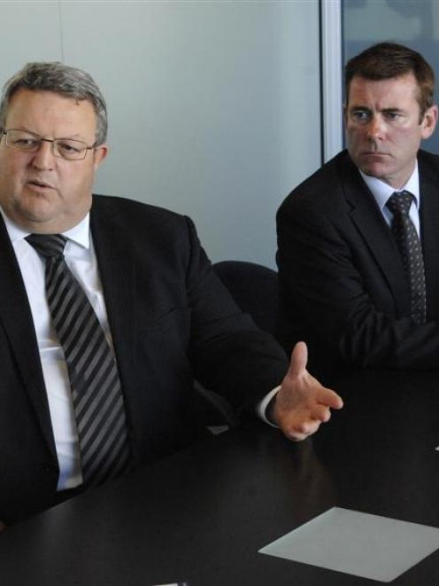 Minister of Energy and Resources Gerry Brownlee (left), seated beside Dunedin North list MP...