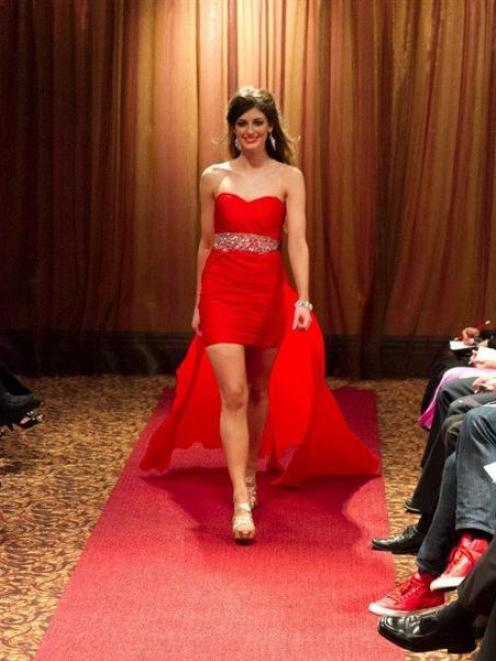 Miss Otago, Monique Cooley, of Queenstown, during a fashion show in the Museum Art Hotel,...