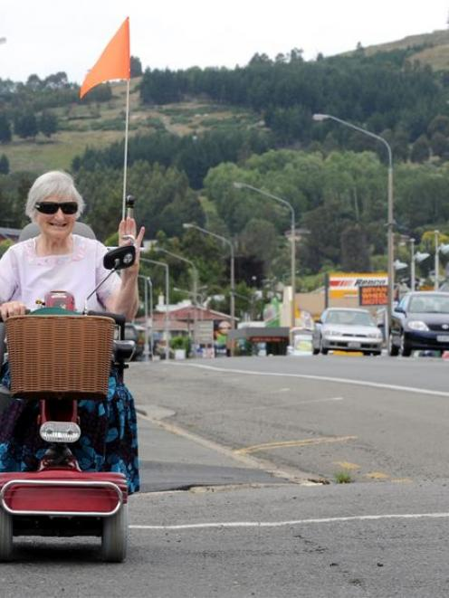 Mobility scooter rider and Mosgiel resident Mary White says most riders are careful around...