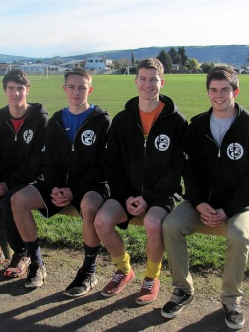 Mosgiel Football Club players (from left) Hamish Cotter, Peter Coates, Riley Anderton and  Daniel...