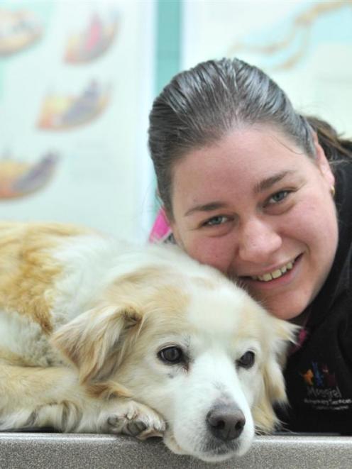 Mosgiel veterinary nurse Carina Gough with border collie Abbie. Photos by Linda Robertson.