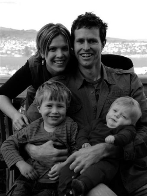 Mother Nadia McKenzie and father Tom Casey with Ben (left, then 3) and Mac (9 months). The photo...