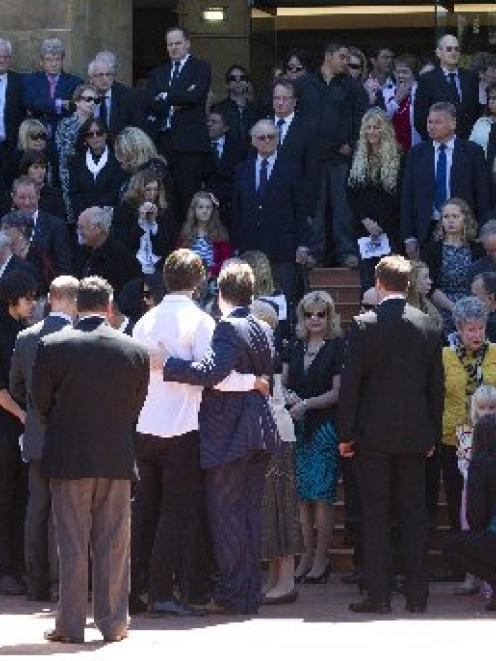 Mourners gathered after the funeral service for lawyer Greg King at the Wellington Cathedral of...