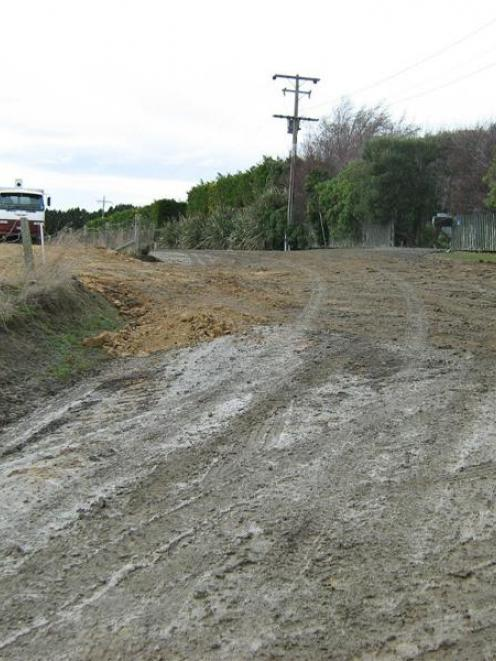 Mud on a Clutha district road in 2010, when road maintenance was also a hot issue. Photo by CDC.
