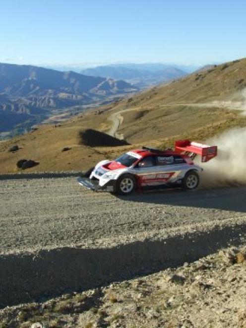Multiple winner Monster Tajima (Japan) powers his 950hp Suzuki up the Race to the Sky course in...