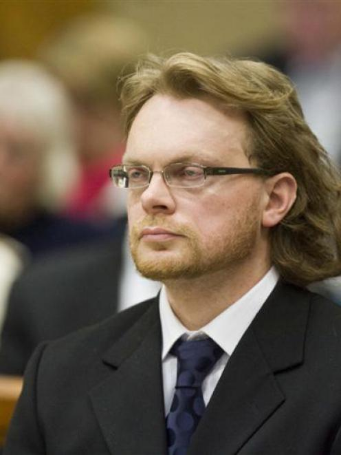 Murder accused Clayton Weatherston in the High Court at Christchurch yesterday. Photo from The...