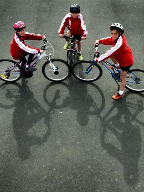 Musselburgh School pupils (from left) Jenna Savage-Mason (10), Nixon Reardon (9) and Tahya...