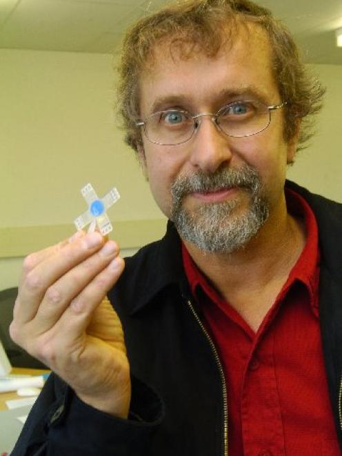 Murray Broom with his cruciform, developed for a biochemistry role from technology he created in...