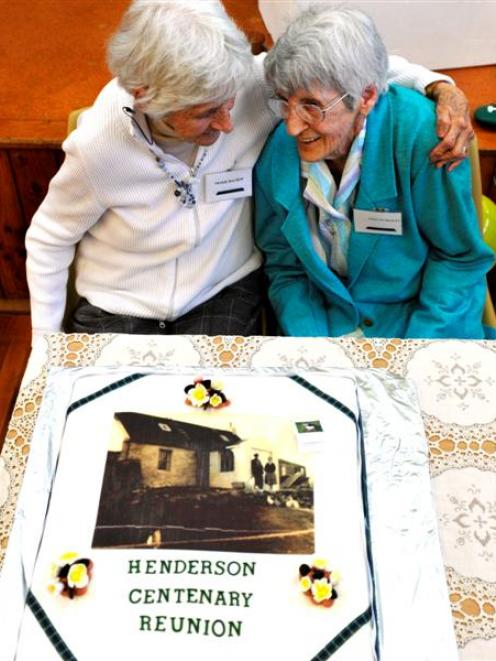 Nessie Bachop (85) and Evelyn Bezett (88) at the Henderson family reunion at Wingatui Hall on...
