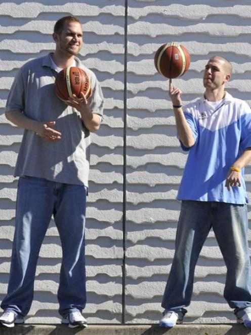 New Otago Nuggets Lance Allred (left) and Scott O'Gallagher show off some skills at the Edgar...