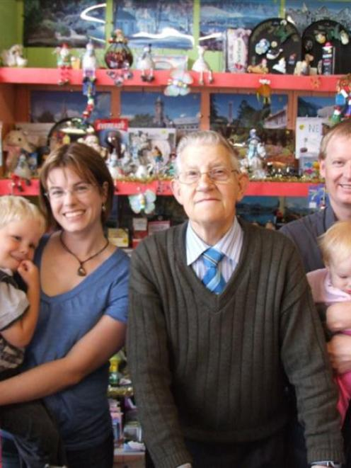 New owners of Appleby's shop in Palmerston, Liz Walker - holding son Josh (3), Doug Appleby and...