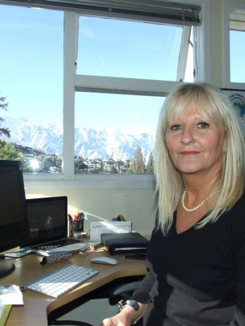 New Queenstown Primary School Principal Fiona Cavanagh in her office, which faces the Remarkables...