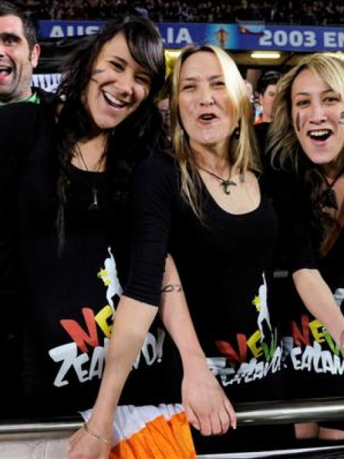 New Zealand All Blacks fans celebrate at Eden Park.     REUTERS/Anthony Phelps