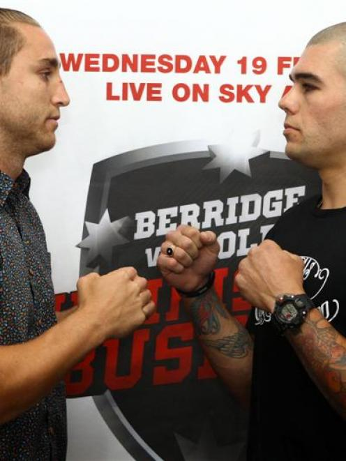 New Zealand boxer Robert Berridge (right) and opponent Kerry Foley prepare for their February 19...