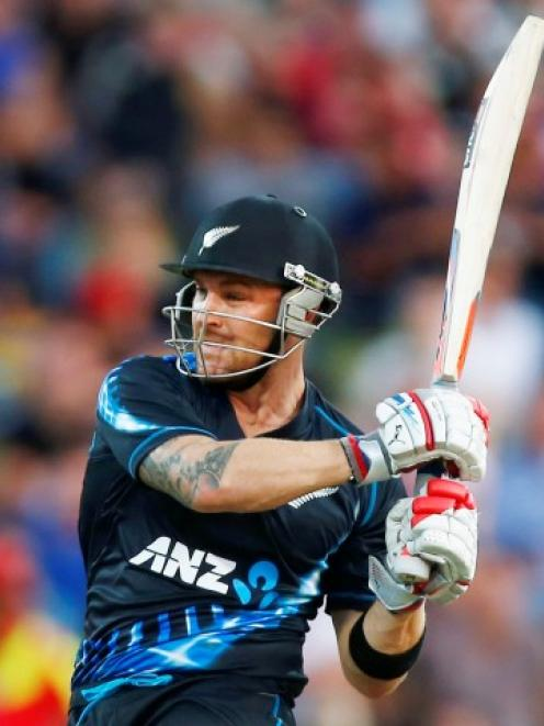 New Zealand captain Brendon McCullum plays a shot on his way to 74 against England in their...