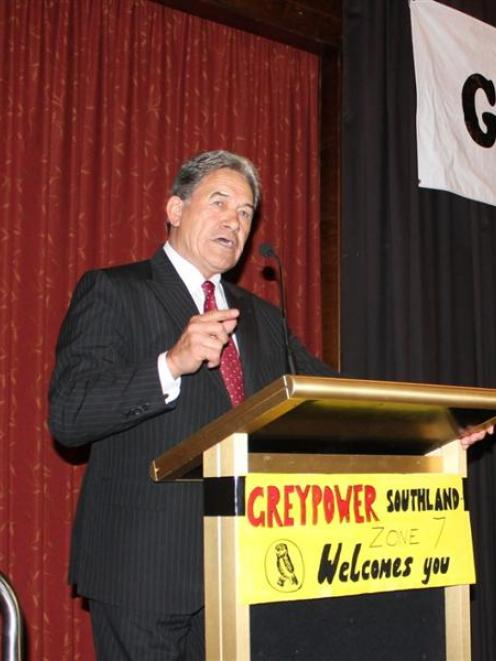New Zealand First leader Winston Peters speaks at a GreyPower national  conference in...