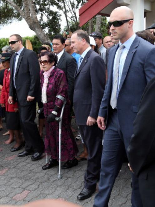 New Zealand Prime Minister John Key and Titewhai Harawira are welcomed with a powhiri at Te Tii...