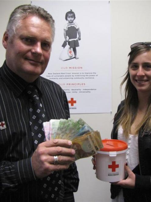 New Zealand Red Cross service centre co-ordinator Richard Garden, of Queenstown, and fundraiser...