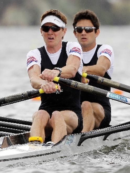 New Zealand's Peter Taylor (left) and Storm Uru compete in the Lightweight Men's Double Sculls...