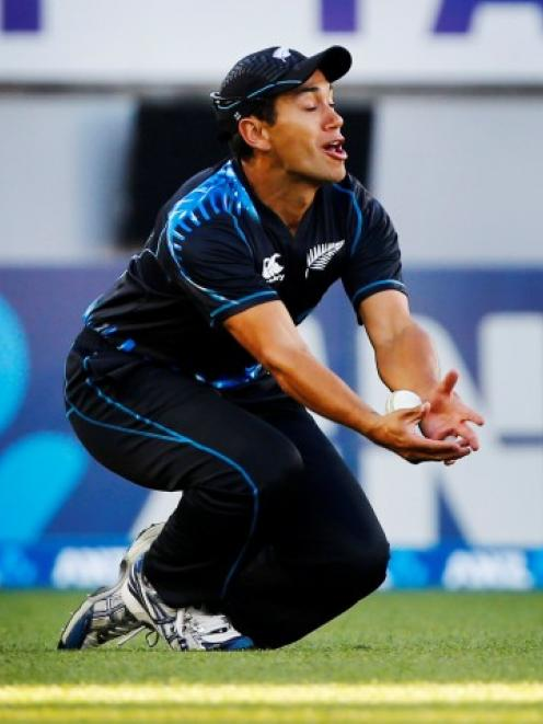 New Zealand's Ross Taylor drops a catch in the outfield during the first Twenty20 match against...