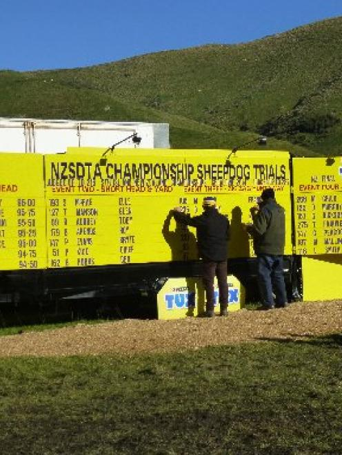 New Zealand Sheep Dog Trial Association volunteers update the leader board on the final day of...