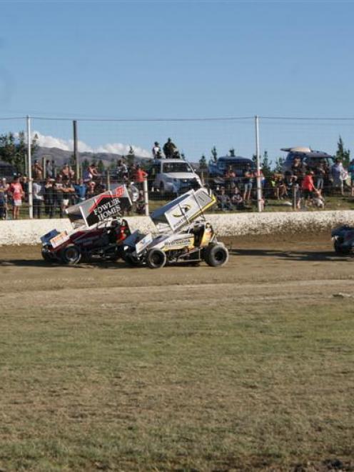 New Zealand Sprintcar Championship winner Rodney Wood (left), of Tauranga, Jonathon Allard, of...