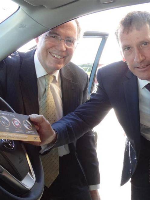 New Zealand Transport Agency chief executive Jim Harland (left) and Rental Vehicle Association...