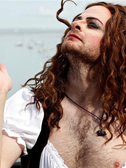 New Zealand travel presenter Julian Hanton dresses in drag in Massachusetts for American Times....