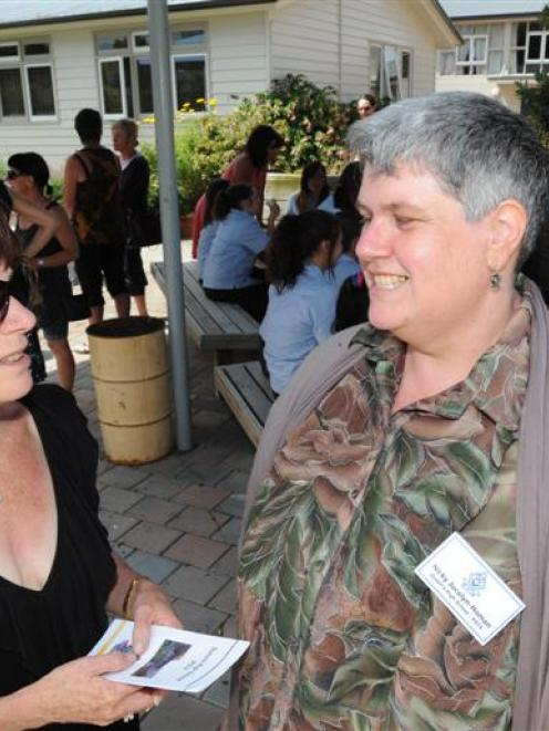 Nicky Jocelyn-Homan (right) chats to Heather Sue at a barbecue for parents whose daughters...