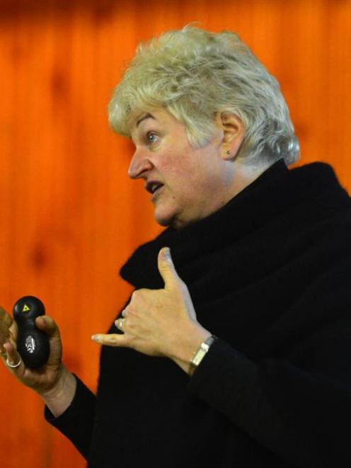 Nicole Foss speaking in Dunedin last night. Photo by Peter McIntosh.