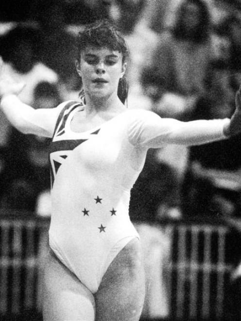 Nikki Jenkins performs on the beam in a Dunedin gymnastics event in 1991.