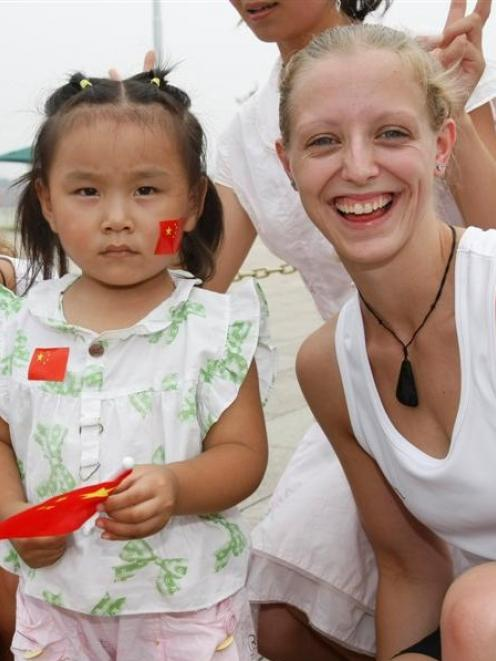 Nina Daniels (pictured) and her sister Lisa, of Dunedin, were popular visitors to Tiananmen...