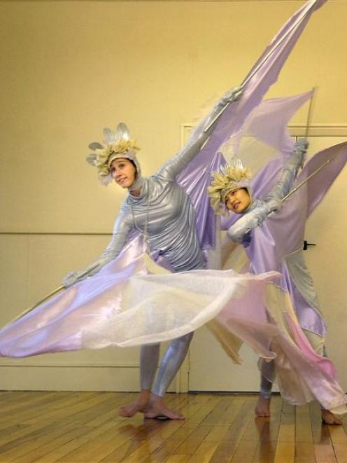 Noelie Gascuel, from France, and Chia-Li Shen, a Dance Lab performing arts student, rehearse...