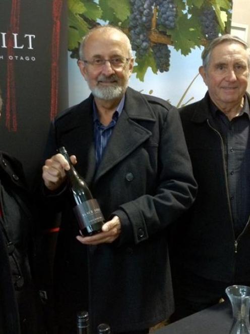 Nola and John Harvey, of Black Stilt,  and Ken Wickham, of Otiake, at a Waitaki wines tasting at...