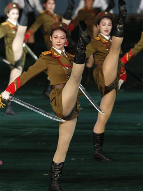 North Korea  dancers perform during a Arirang mass games to mark the 65th anniversary of the...