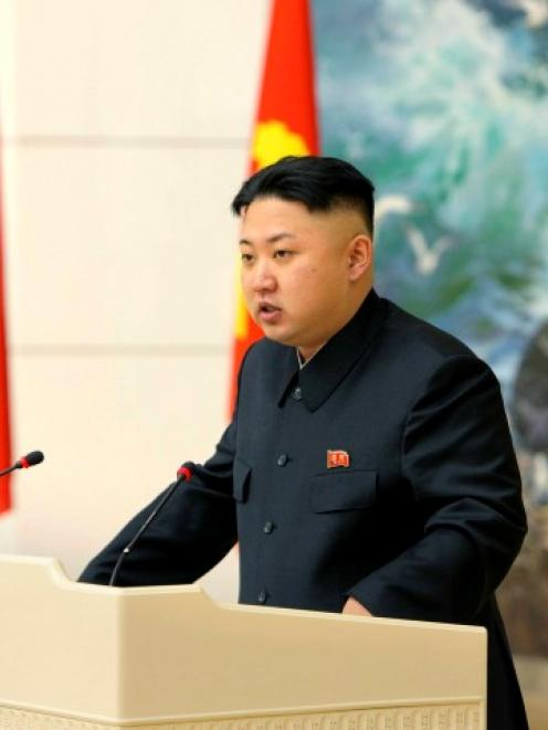 North Korean leader Kim Jong-un speaks during a banquet in Pyongyang in December for scientists,...