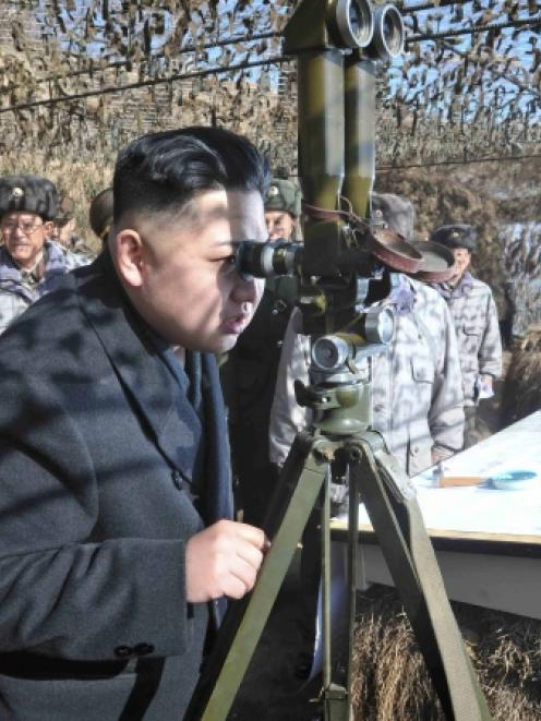 North Korean leader Kim Jong-Un visits a unit under the command of the Korean People's Army 4th...