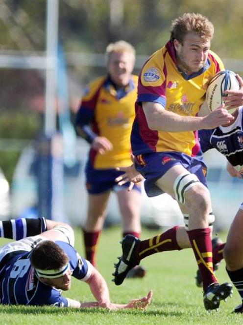 North Otago lock Dave Simpson goes on the charge during the Meads Cup final against Wanganui at...